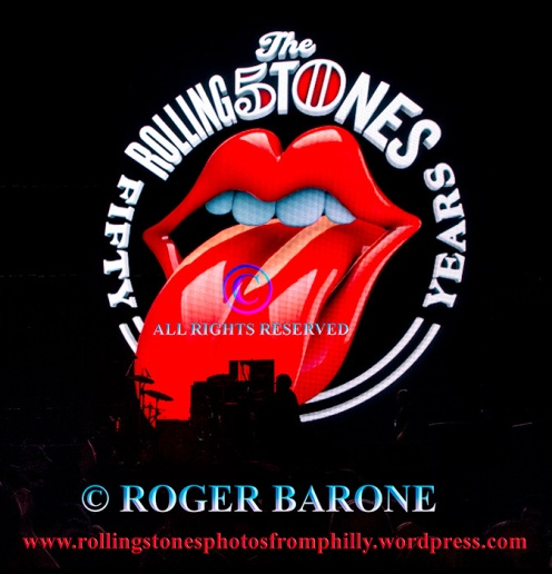 """Rolling Stones """"Fifty & Counting"""" Tour Logo, Philly, June 21, 2013. photo by roger barone"""