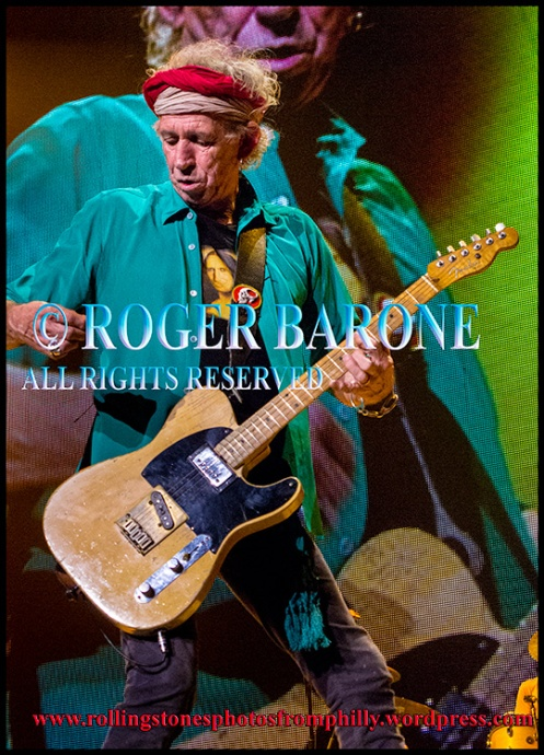 Keith Richards Rolling Stones playing Brown Sugar, Wells Fargo Center, June 21, 2013, photo by roger barone