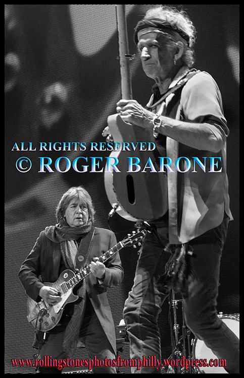 "Rolling Stones Mick Taylor and Keith Richards performing ""Midnight Rambler"" Philly. june 21, 2013 © roger barone"