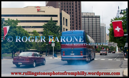 Rolling Stones' bus leaves Philly. june 23, 2013. photo by roger barone