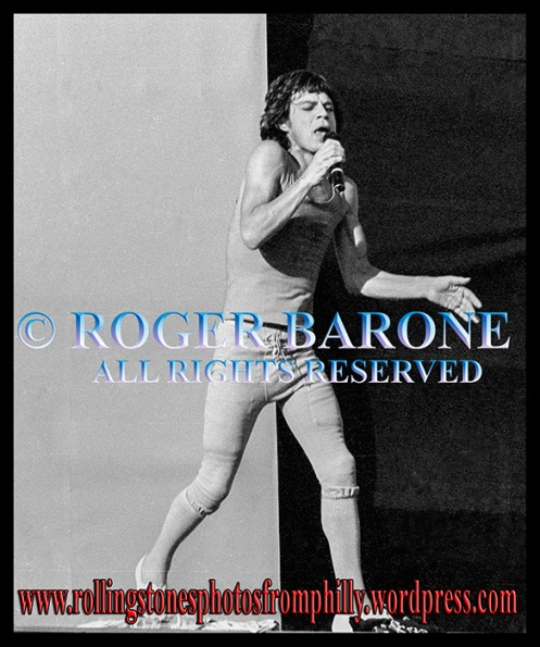Mick Jagger performs with the rolling stones at JFK Stadium, september 26, 1981, photo by roger barone