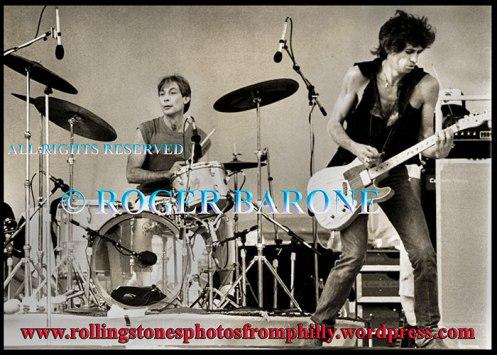 Rolling Stones drummer Charlie Watts, JFK Stadium, september 26, 1981, © roger barone