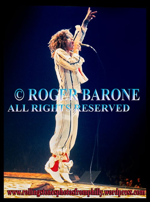Mick Jagger leaping at the Spectrum, June 29, 1975. © roger barone