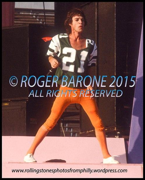 Mick Jagger performing at JFK Stadium, wearing a Philadelphia Eagles football jersey. © roger barone 2016, september 26